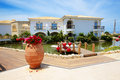 Villas decorated with flowers at luxury hotel crete greece Stock Photos