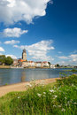 Ville hollandaise Deventer au fleuve Photo stock