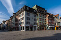 Villingen schwenningen germany the historical buidling facades with shops Royalty Free Stock Photo