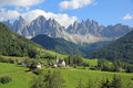 Villnoss valley church of santa maddalena in with the odle mountains south tyrol italy Stock Photos