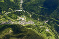 Vilminore di scalve village orobie italy aerial shot from a small plane of in valley shot in mountains bergamo Royalty Free Stock Photography
