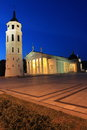 Vilnius cathedral at night lithuania Royalty Free Stock Photo