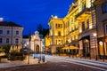 Vilnius Lithuania. Illuminated Lithuanian National Philharmonic Royalty Free Stock Photo