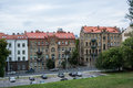 VILNIUS, LITHUANIA - JULY 12, 2015: Houses and parking at Vilnius