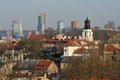 Vilnius old town cityscape winter morning Stock Photos