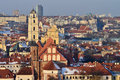 Vilnius old town cityscape winter morning Royalty Free Stock Photos