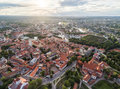 Vilnius Old Town, Lithuania. Cathedral Square, St. Anne Church and Gediminas Castle in Background. Royalty Free Stock Photo