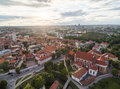 Vilnius Old Town and St. Anne Church and Cathedral Square, St. Johns Church Bell Tower in Background. Lithuania. Gediminas Castle Royalty Free Stock Photo