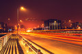 Vilnius road night scene Royalty Free Stock Photo