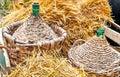 Vimine del demijohn di autunno Fotografia Stock Libera da Diritti