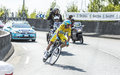 Vincenzo nibali the winner of tour de france coursac july italian cyclist team astana wearing yellow jersey during stage time Royalty Free Stock Photos