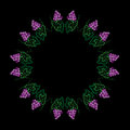 Vine with leaves and grapes frame pattern embroidery stitches im