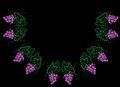 Vine with leaves and grapes half frame pattern embroidery stitch