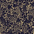 Vine seamless pattern for package design. Old style golden background with grape berries and leaves.