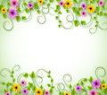 Vines Background for Spring Season with Realistic Colorful Flowers Royalty Free Stock Photo