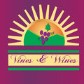 Vines and wines sun logo Royalty Free Stock Photo