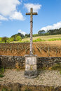 Vineyard in Burgundy, France, with a stone cross on the his edge