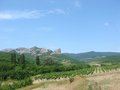 Vineyard and mountains landscape with Royalty Free Stock Photo