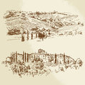 Vineyard romantic landscape hand drawn illustration Royalty Free Stock Images