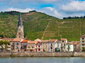 Vineyards in the cote du rhone france a riverside village and on hills of area Royalty Free Stock Image