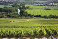 Vineyards hautvillers near reims france and the river marne at epernay in background south of in northern epernay is best known as Stock Photography