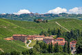 Vineyards and winery in piedmont italy green on the hills complex northern Stock Image