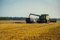 Vinnitsa,Ukraine -July 27,2016.Grain harvesting combine,Summer L