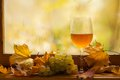 Vino bianco di autunno Fotografia Stock Libera da Diritti