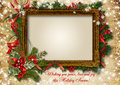 Vintage сhristmas card with frame for photo or text christmas and beautiful christmas decoration Royalty Free Stock Photo