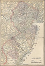 Vintage 1891 map of the state of New Jersey Stock Photography