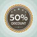 Vintage 50 percent discount label Stock Image