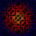 Vintage abstract background oriental ornament kaleidoscope blue red yellow gradient Stock Photo