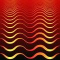 Vintage abstract golden waves on dark red gradient background. Vector bohemian design. Elegant line wavy texture.