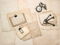 Vintage accessories old postcards and papers sentimental nostalgic background Royalty Free Stock Photography