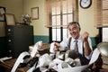 Vintage accountant giving good news Royalty Free Stock Photo