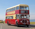 Vintage aec regent double decker bus photo of a cream and red parked at tankerton slopes whitstable kent photo taken th august Stock Image