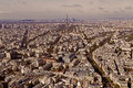 Vintage aerial view with Eiffel tower and La Defense district in Royalty Free Stock Photo