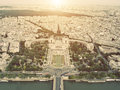 Vintage Aerial view on Trocadero, Paris Royalty Free Stock Image