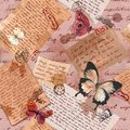 Vintage aged paper with hand written notes, butterflies, postal stamps. Repeating pattern Royalty Free Stock Photo