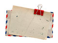 Vintage air mail envelope. retro post letter Royalty Free Stock Photo