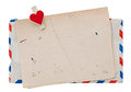 Vintage air mail envelope retro post love letter grungy paper background Royalty Free Stock Photo