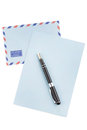 Vintage airmail envelope and fountain pen Royalty Free Stock Photo