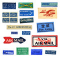 Vintage airmail labels from all over the world Royalty Free Stock Photo