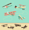 Vintage airplanes set of retro in color and silhouette Royalty Free Stock Photography
