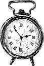 Vintage alarm vector sketch of the old clock Stock Images