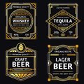 Vintage alcohol label. Art deco whiskey, tequila sign, retro craft and ager beer labels vector illustration