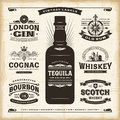 Vintage alcohol labels collection Royalty Free Stock Photo