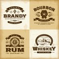 Vintage alcohol labels set a of fully editable in woodcut style eps vector illustration Royalty Free Stock Images