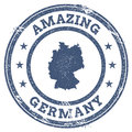 Vintage Amazing Germany travel stamp with map.