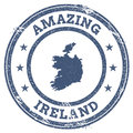 Vintage Amazing Ireland travel stamp with map.